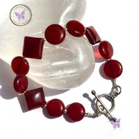Carnelian Coin & Diamond Bracelet